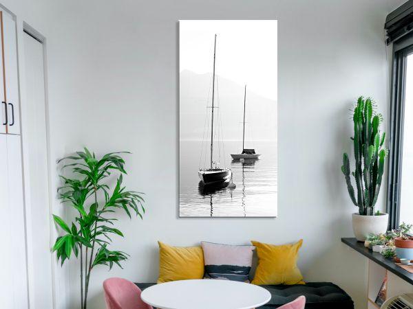 תמונת זכוכית של 2 סירות שחור לבן