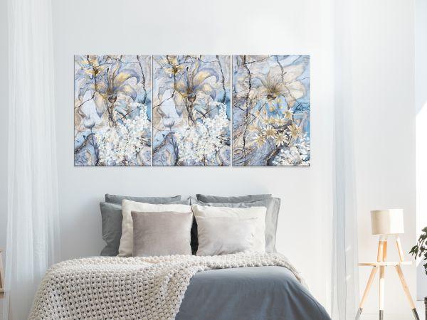 תמונת זכוכית של סט פרחים כחולים