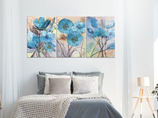 תמונת זכוכית של סט פרחים כחולים 2