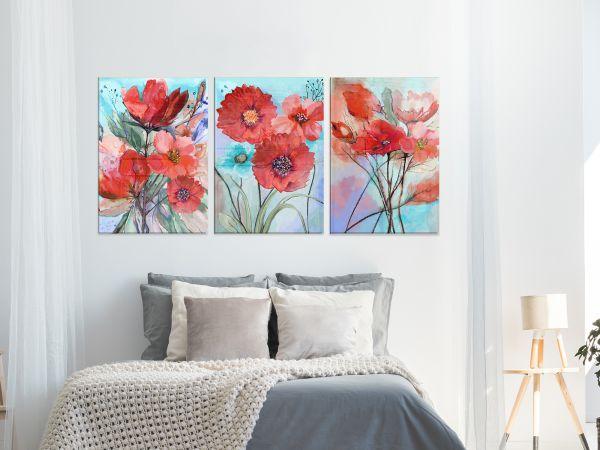 תמונת זכוכית של סט פרחים אדומים