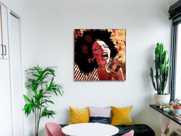 תמונת זכוכית של זמרת אפריקאית