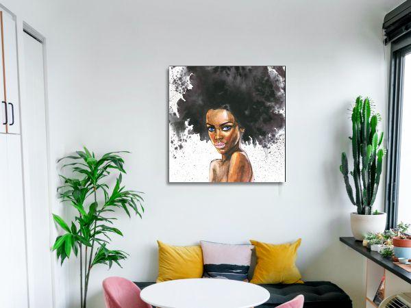 תמונת זכוכית של אשה עם אפרו 2