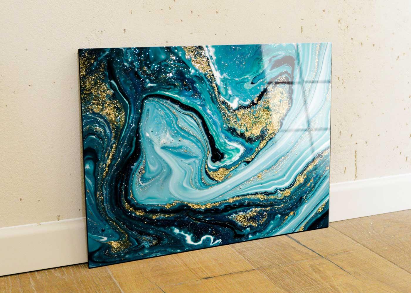 תמונת זכוכית של אבסררקט צבע כחול