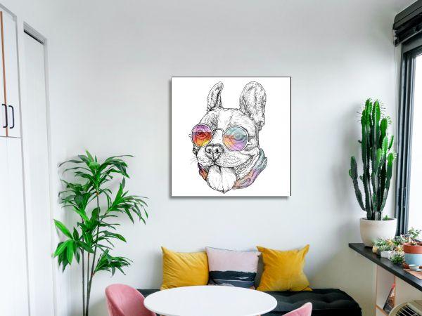 תמונת זכוכית של כלב שחור לבן