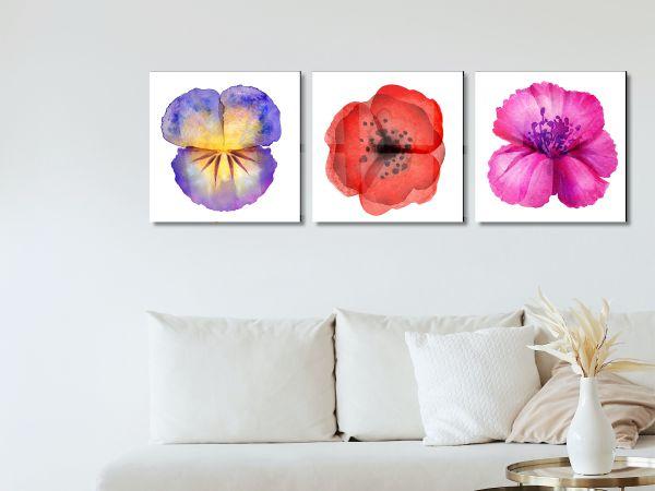 תמונת זכוכית של  ציורי פרחים