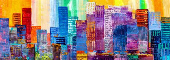 תמונת זכוכית של ציור צבעוני של ניו יורק