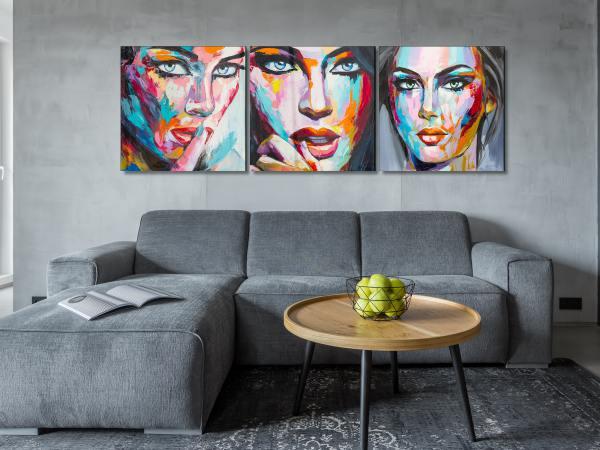 תמונת זכוכית של אשה צבעונית סט 1