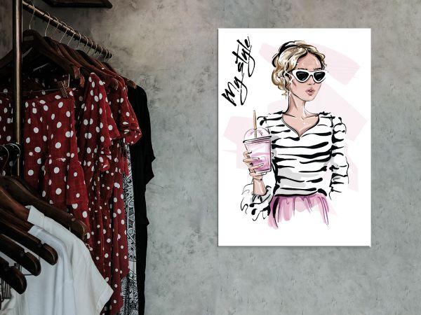 תמונת זכוכית של ציור של אשה אפנתית2