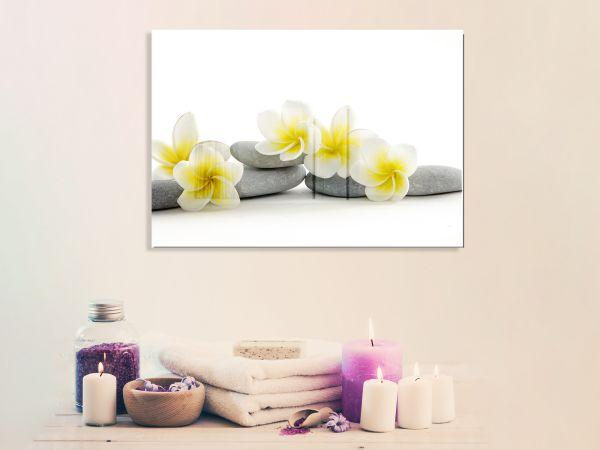 תמונת זכוכית של פרחים על חלוקי נחל