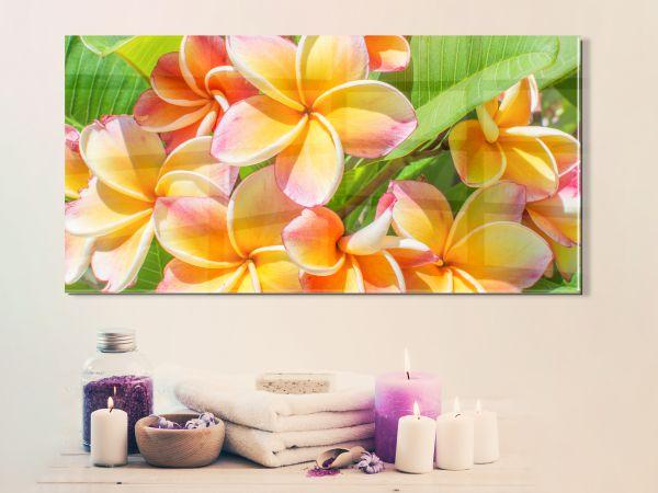 תמונת זכוכית של פרחים בצעי פסטל