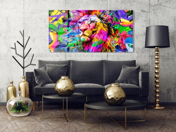 תמונת זכוכית של אריה צבעוני