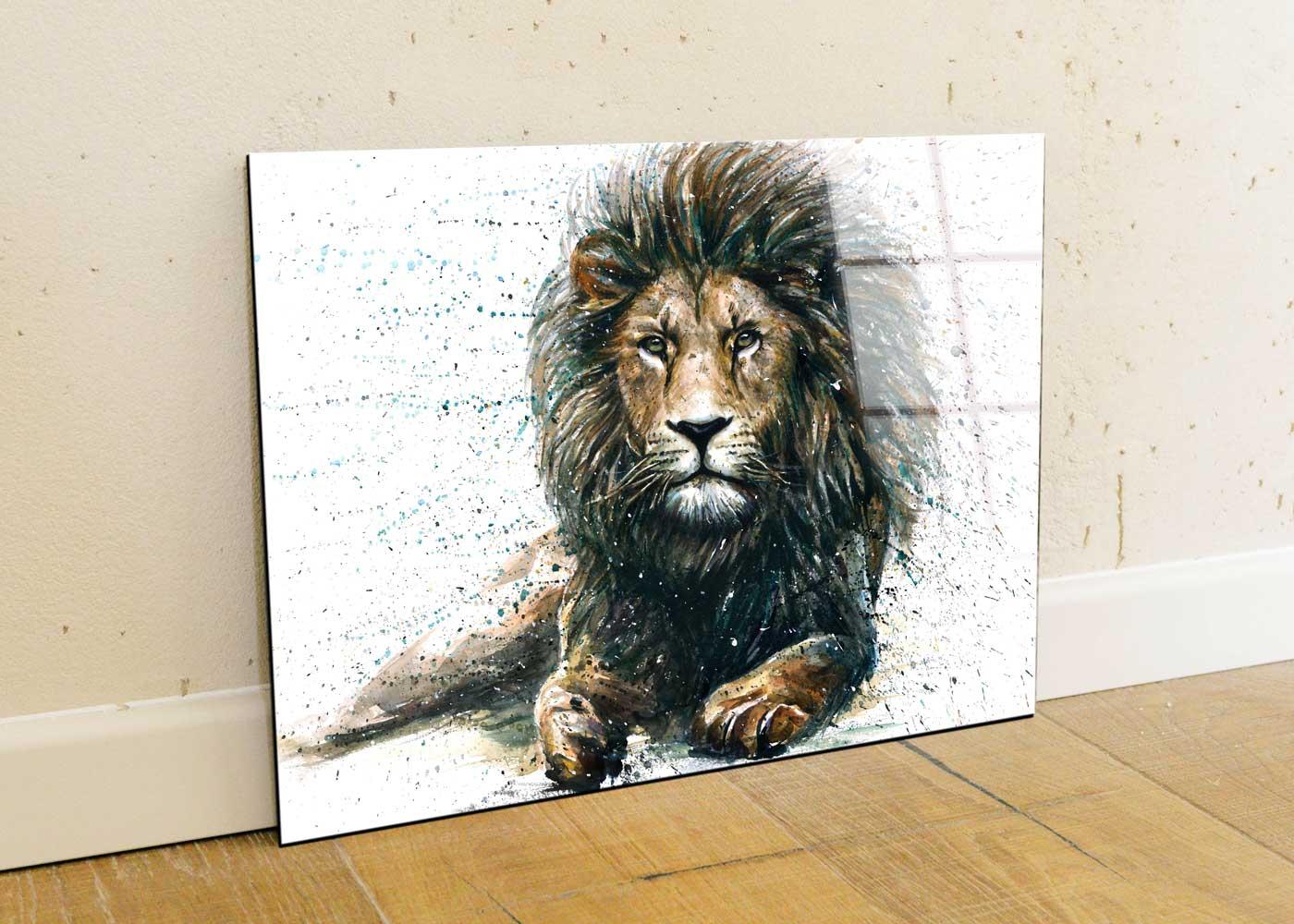 תמונת זכוכית של אריה מצויר