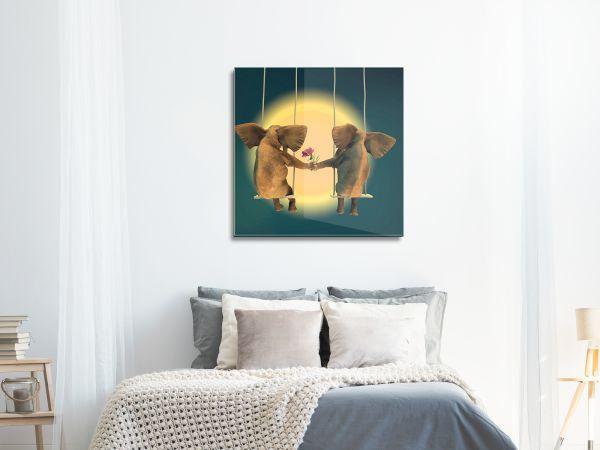 תמונת זכוכית של פילים אוהבים