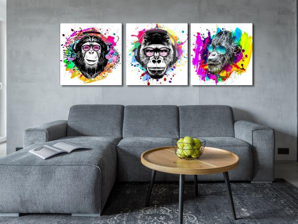 תמונת זכוכית של סט קופים