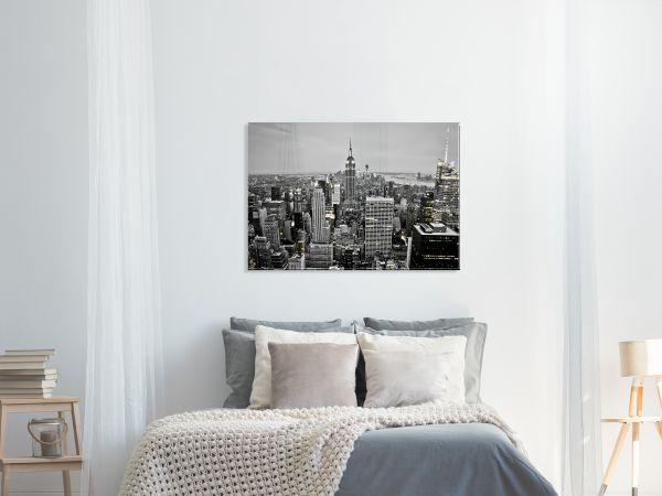 תמונת זכוכית של ניו יורק שחור לבן