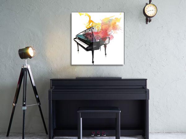 תמונת זכוכית של פסנתר צבעוני